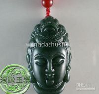 Wholesale And nephrite jade Buddha head pendant Sakyamuni carved Seiko clear
