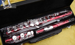 Red body silver keys Music Instrument Flute