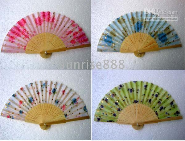 Wholesale Hot sale of pc Handcraft Chinese Silk folding Bamboo Fans A01