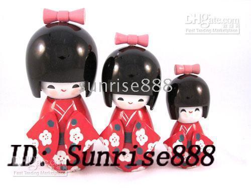 Wholesale Hot sale pc sets Multicolor Oriental Japanese Kokeshi dolls New