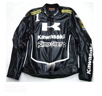 Wholesale Kawasaki motorcycle racing suit black patent leather PU
