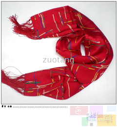 Mens Striped Scarf Red Chinese 100% Silk Long Bilayer Tassel 10 pcs lot Free