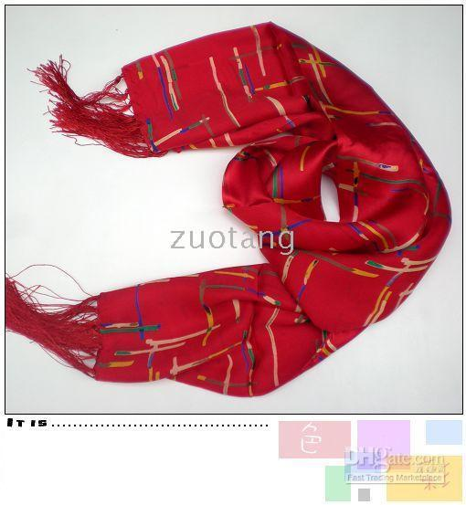 Wholesale Mens Striped Scarf Red Chinese Silk Long Bilayer Tassel Free