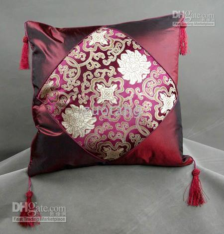 Wholesale New Fancy Cushion Cover Pillow Case Cheap Silk Brocade Colorful Gorgeous Cushion Covers Free