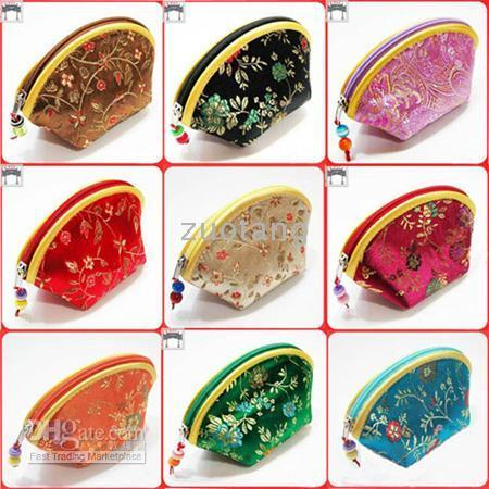 Wholesale Cheap Lucky Seashell Zipper Coin Purse Fashion Wallet Silk Brocade Wedding Candy bag Bride Favor Chocolate Box set
