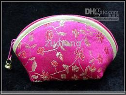 Purple Coin Purse Zip Cheap Silk Flower Shell Shaped 10pcs lot Free