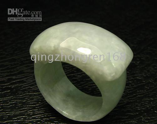 Discount jade green Natural Burma Light Green Jadeite Jade Round Ring #9.5