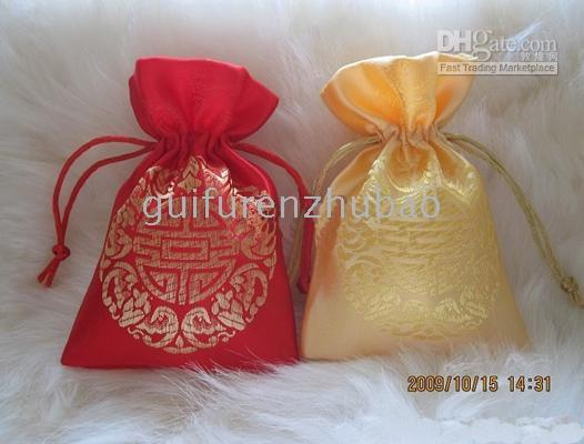 Wholesale Small Satin Fabric Gift Pouch Christmas Candy Bag Wedding Birthday Party Favor Drawstring Jewelry Storage Bags Packing cm