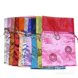 Wedding Party Candy Bag Gorgeous Christmas Candy Bag Silk Fashion Sequin Drawstring Candy Bags 30pcs