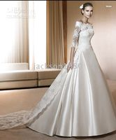 Wholesale 2011 COSTURA COLLECTION IMAN ALINE short sleeve SATIN court train brides Wedding Dresses