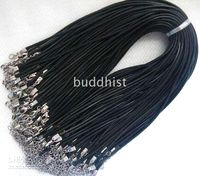 Wholesale 100pcs waxed robbin silk jewelry pendant mm black cords with clasp for necklace cord cord2