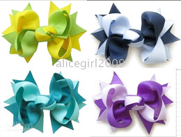 Wholesale - Girls Boutique Hair Bows with Clips 2 Tone 3 inthes bows hair bows 100pcs lot