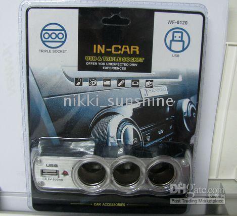 Wholesale 10pcs v v in car usb triple socket splitters way DC cigarette charger suitable