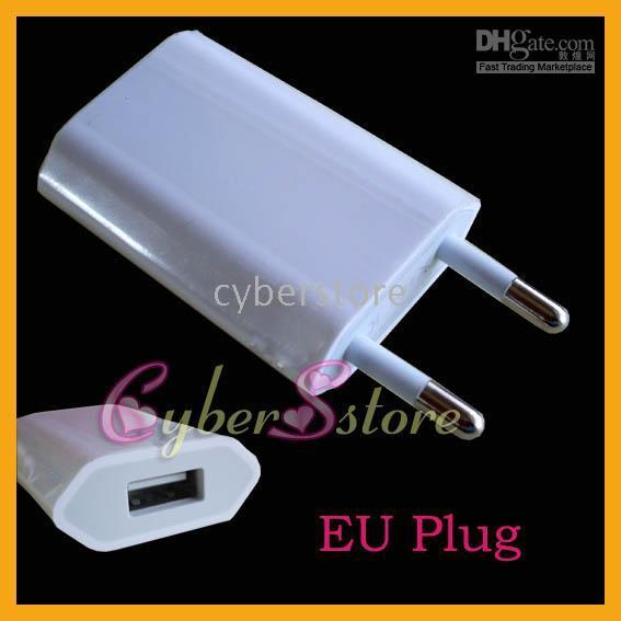 Wholesale 50pcs EU AC to USB Power Travel Home Wall Charger Adapter Plug For iPhone S