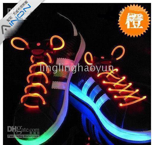 Wholesale Fiber Optic LED Shoe LACES LASERs SHOELACES NEON GLOW IN THE DARK STICK GADGET LIGHT lcs