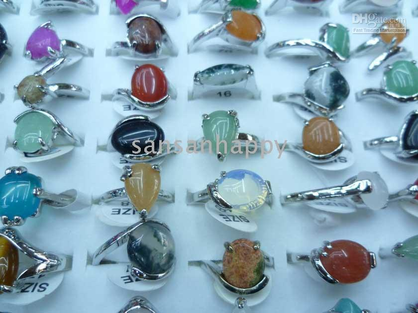 Wholesale fashion natural stone rings