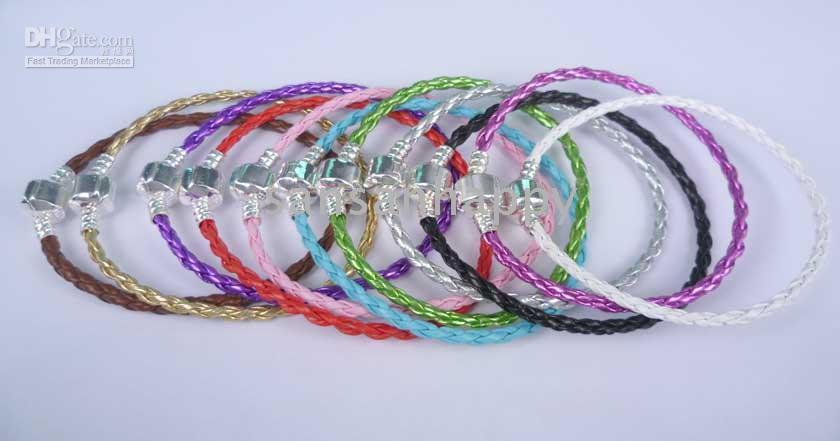 Wholesale 50pcs silver leather Link Chain bracelets cm cm mix colors