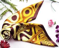 Wholesale Fashion Women s quot Square Scarves Silk Scarf w Yellow Circle Texture Head Scarf Mixed Style