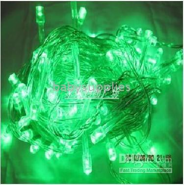 Wholesale 100LED Meter Green string lights USA plug add Tail socket voltage R08