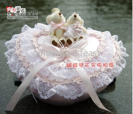 Wholesale 18 X18CM Ivory lace satin and small flowers bride heart Ring Pillows