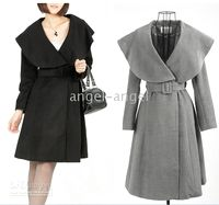 Wholesale 2010 new brand Max Sheep Wool Long coats with huge collars women s coats black size S XL