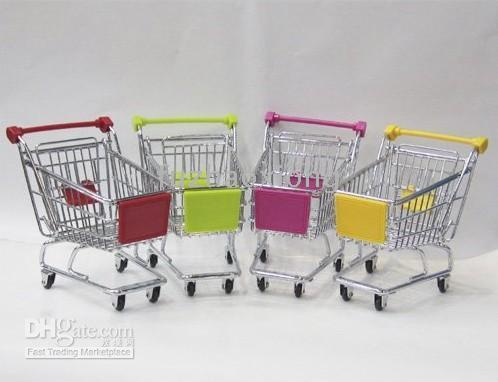 Wholesale 12pcs Novelty L Mini Metal Shopping Cart Unique Storage Cart Innovative Mobile Phone Holder