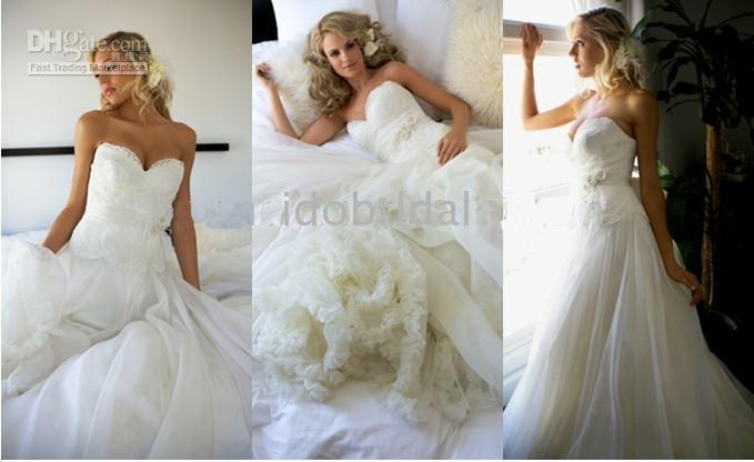 A-Line beach wedding items - Hot item strapless lace tulle applique sash a line white ivory bridal dress wedding dress