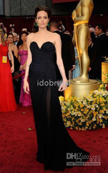 angelina dress oscar - Angelina Jolie Oscar Dress strapless A line floor length chiffon evening dress