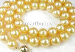 New Fine Pearls Jewelry genuine natural 18inches 10-11mm golden pearl necklace