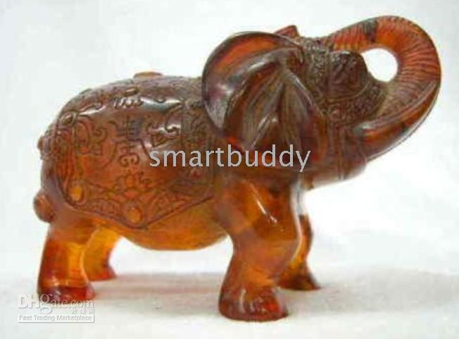 amber elephant - fine Loveable vividly carved amber elephant statue adornment