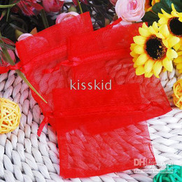 300Pcs Red Organza Gift Pouch Bag Wedding Favor Party 9X12 cm Packaging Bags Gift Wrap New