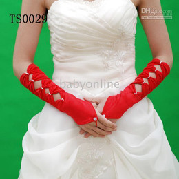 Wholesale Full refund guarantee Hot Beautiful Red Tulle Wedding Bridal Gloves ST0029