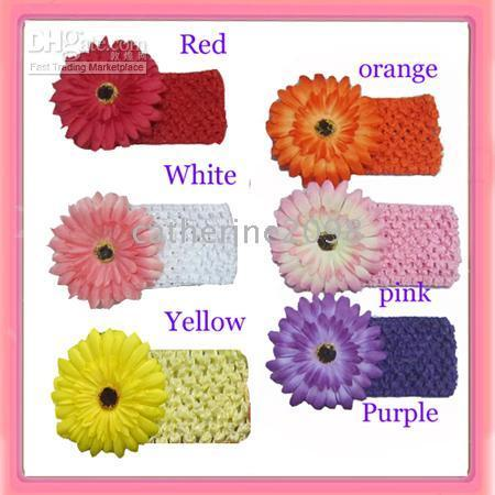 Wholesale New Baby crochet headband knit waffle headband with daisy flower drop shipping can mix oder