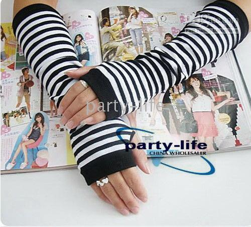 Wholesale Fashion Striped warmer long Fingerless Gloves mitten