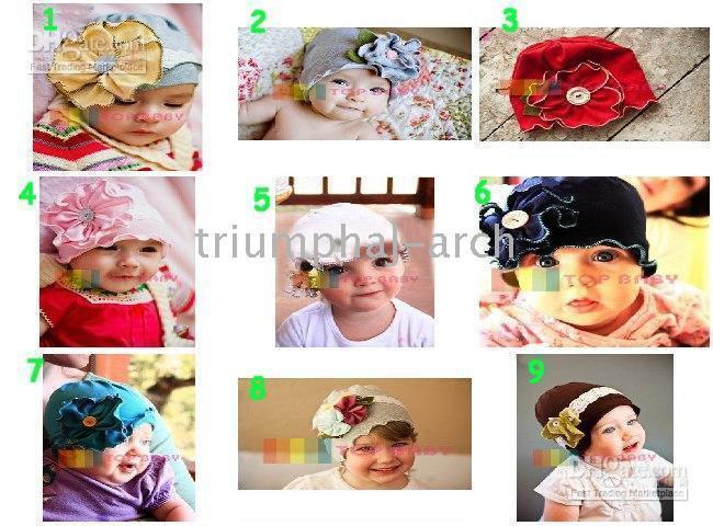 beanie babies barrettes - Top Baby hats children boys cap headband barrette headdress flower beanie