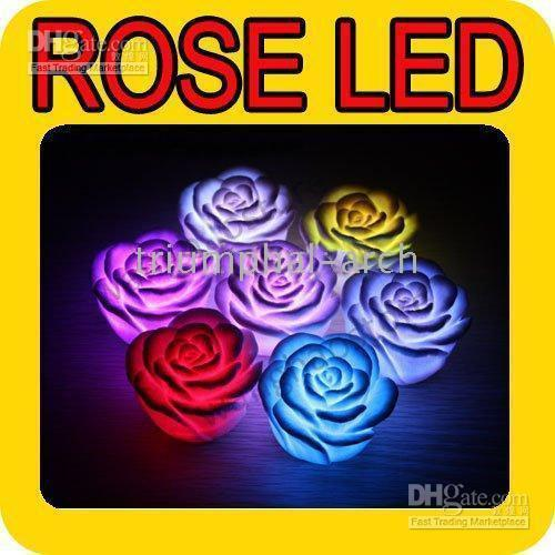 Wholesale 200pcs Rose LED Lamp For Party Fun Color Changing Romantic Rose Flower Candle Lights Christmas gifts