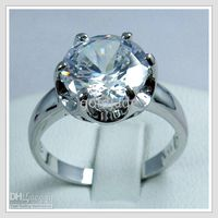 Wholesale Gemstone Jewelry K White Gold Wedding Band Gp white Zircon Ring