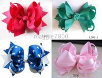 Wholesale Sweet Girls Hair Accessories Baby hair bows Baby hairs clip grosgrain ribbon bows A001