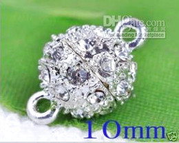 Alloy Magnetic Clasps, with Clear Rhinestone, Round, Silver Plated, 10MM in diameter, Hole: 2MM.
