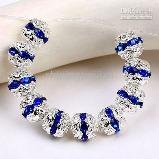 Wholesale 10MM Sapphire Color Loose Beads Charming Crystal Rondelle Silver Plated Ball Rhinestone Spacers