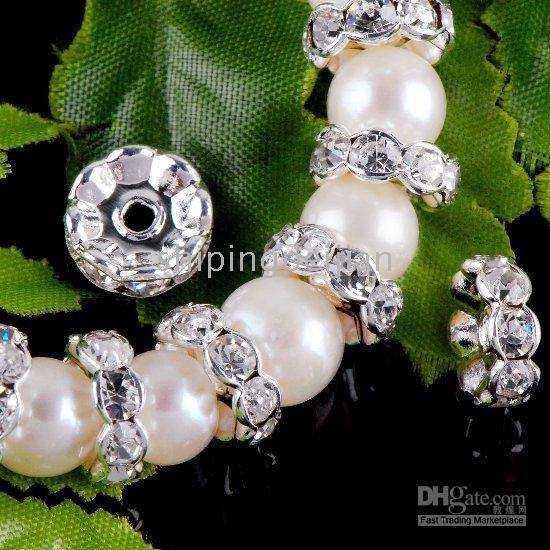 Wholesale 10MM Silver Gold Plated Clear Crystal Bead Caps Spacers Rondelle Rhinestone Jewelry Findings Beads