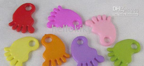 Wholesale 600PCS Mixed colour Plastic Flat Foot charms M1394