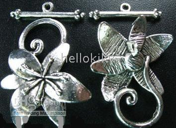 Wholesale 90SETS Tibetan silver flower toggle clasps A5124