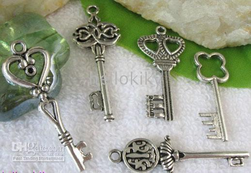 Wholesale 150PCS Tibetan silver mixed styles KEY charms M4890