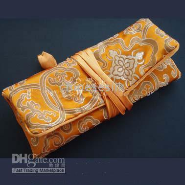 Jewelry Pouches,Bags jewelry roll bag - Colorful Jewellery Roll Pouch China Silk Fabrics Gorgeous Travel Jewelry Roll Bags mix Free
