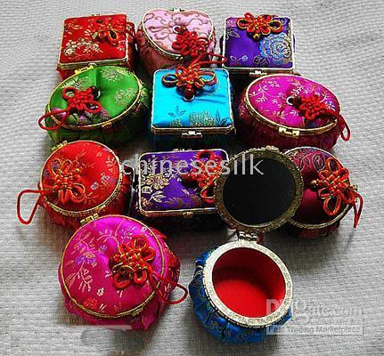 jewelry mirror - Cheap Mirror Small Jewelry Gift Boxes handicraft Decorative Chinese knot Silk Printed Packaging Cases mix color