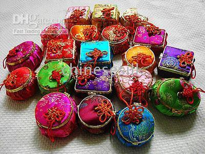Ring jewelry mirror - Unique Mirror Mini Jewelry Boxes Packaging Chinese style Silk Printed Storage Cases mix color
