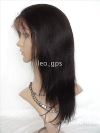 Wholesale STOCK Remy Full Lace Wigs Yaki Straight quot B Indian Human hair lace wigs readt to ship