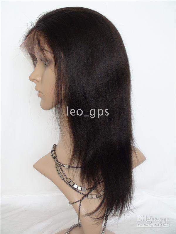 Wholesale STOCK Remy Full Lace Wigs Yaki Straight quot quot B Indian Human hair lace wigs readt to ship