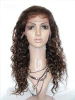 Wholesale Remy Full Lace Wigs Curly quot Light Brown Jet Black B Indian Human LONG hair lace wig